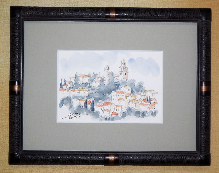 水彩画 加藤信雄「教会の見える丘」