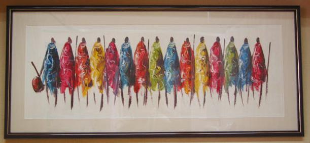 油彩画 作者不明「マサイ族の人たち」