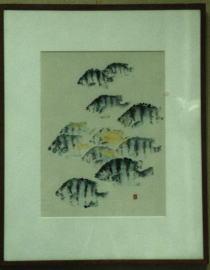 サンバソウ(石鯛の子)「十六夜の月」<br /> 満月がすぎ 崩れかかる月が冬へ向かう魚の背にかすかに映えて<br /> 寒さ寂しさを表現できたらと思って